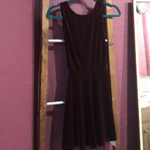 Velvet sleeveless skater dress(carbernet)